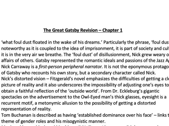The Great Gatsby Key Quotes & Analytical Comments Revision Document for A Level English Literature.