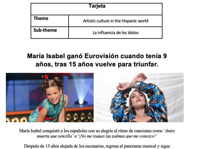 Speaking Card - La influencia de los ídolos AQA A Level Spanish *New 2020-2021