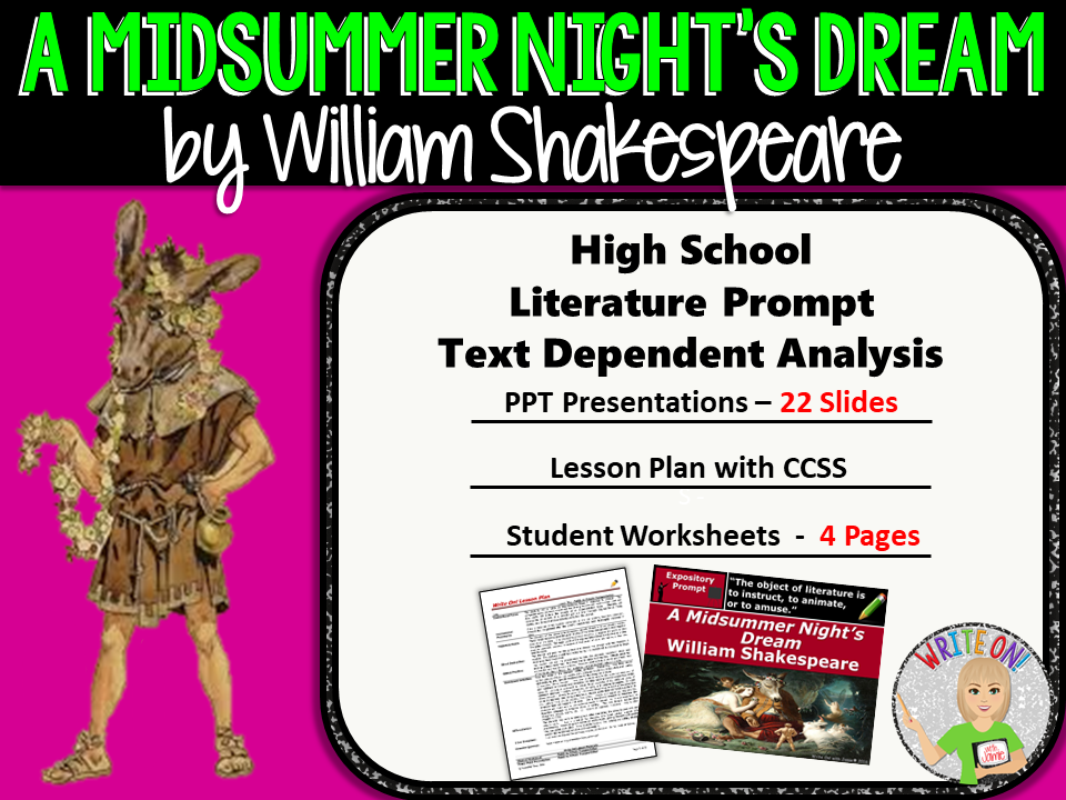 A Midsummer Night's Dream - Textual Evidence Analysis Expository Writing