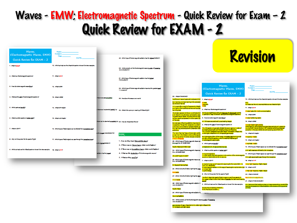 Waves - EMW; Electromagnetic Spectrum - Quick Review for Exam – 2