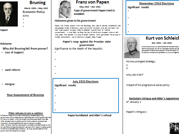 AQA Democracy and Nazism: Hitler's Appointment timeline worksheet