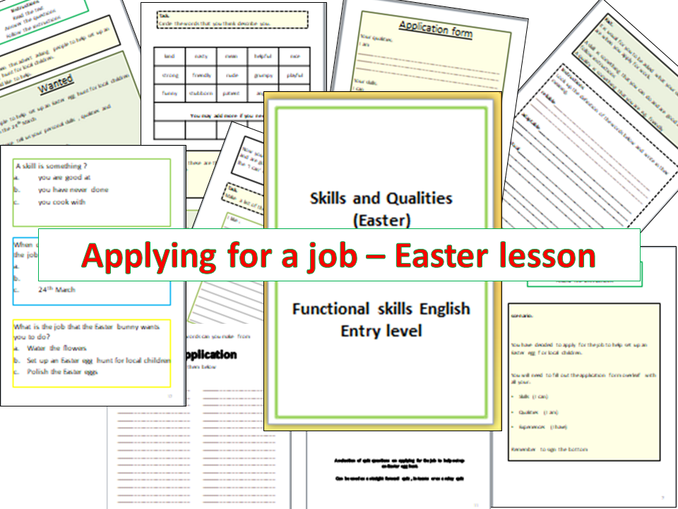 Applying for a job - Easter lesson
