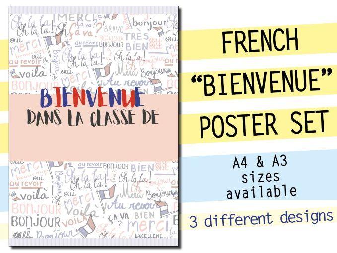 3 POSTERS - French Bienvenue set - Welcoming classroom display door decor