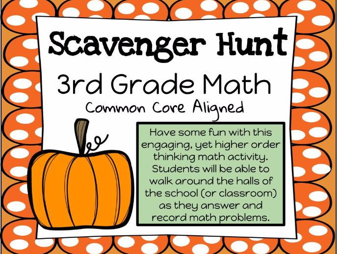 Third Grade Math Fall Scavenger Hunt FREE!!!
