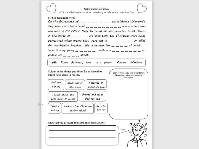 St Valentines Day Worksheet Activity KS1/LKS2