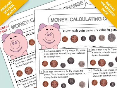 Primary Maths Worksheet Pack: Calculating Change (Money)