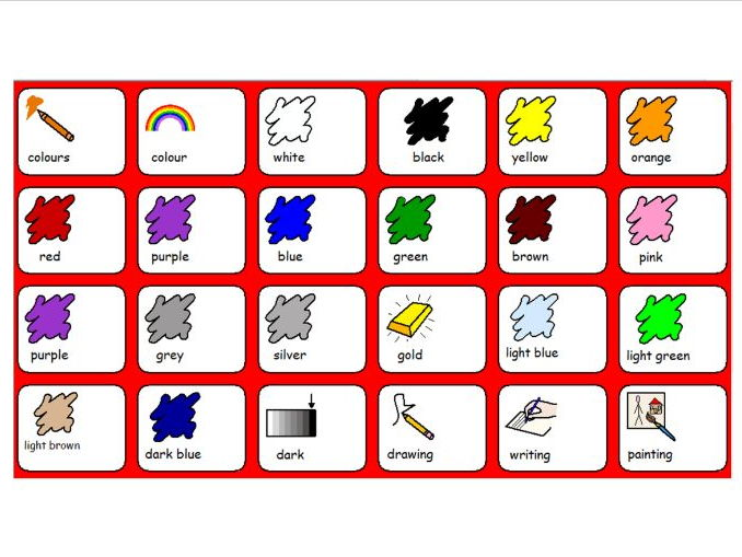 Colours - Symbol and Word Grid - SEN and Lower Ability