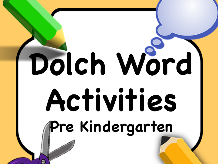 Dolch Words Pre-K: Task Card for Each Word + Matching Card COLOR and BLACK & WHITE
