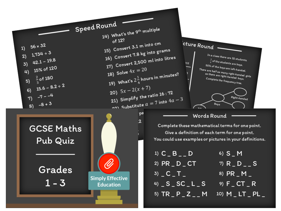 GCSE Maths Pub Quiz (Grades 1-3)