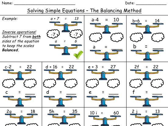 Solving One Step Equations Using 'Balancing Scales' (1 Step Equations)