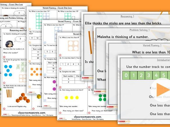 Year 1 Count One Less Autumn Block 1 Step 7 Lesson Pack