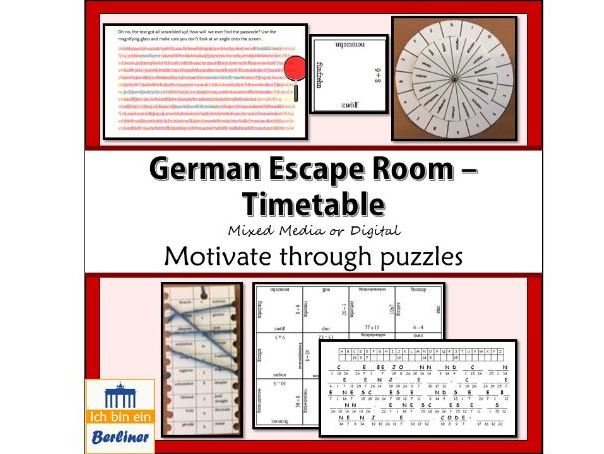 German Escape room Der Stundenplan (timetable and subjects)