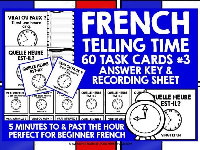 FRENCH TELLING TIME CHALLENGE CARDS #3
