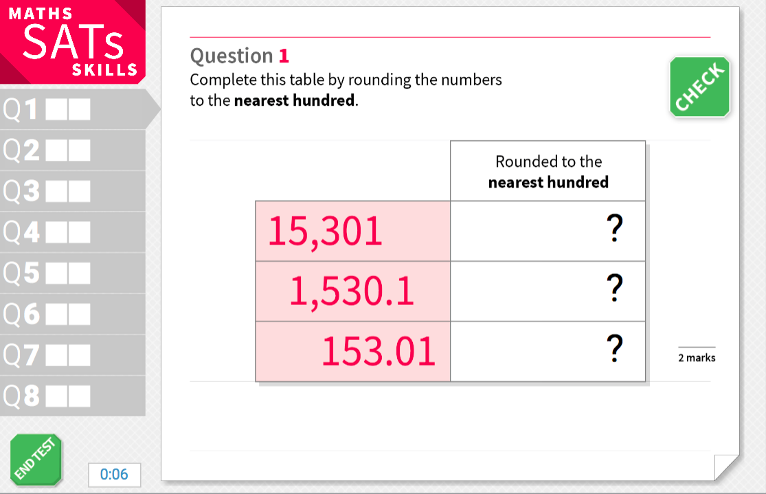 Round numbers up to the nearest one hundred - KS2 Maths Sats Reasoning - Interactive Exercises