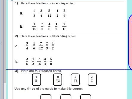 Compare order fractions - comparing and ordering fractions - KS2 Year 5 6 -  WORKSHEET ONLY