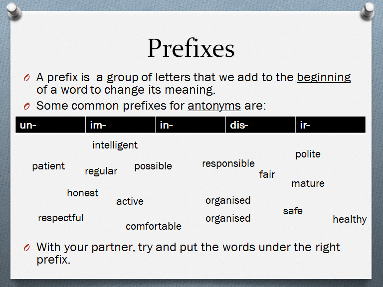 Antonyms with Prefixes