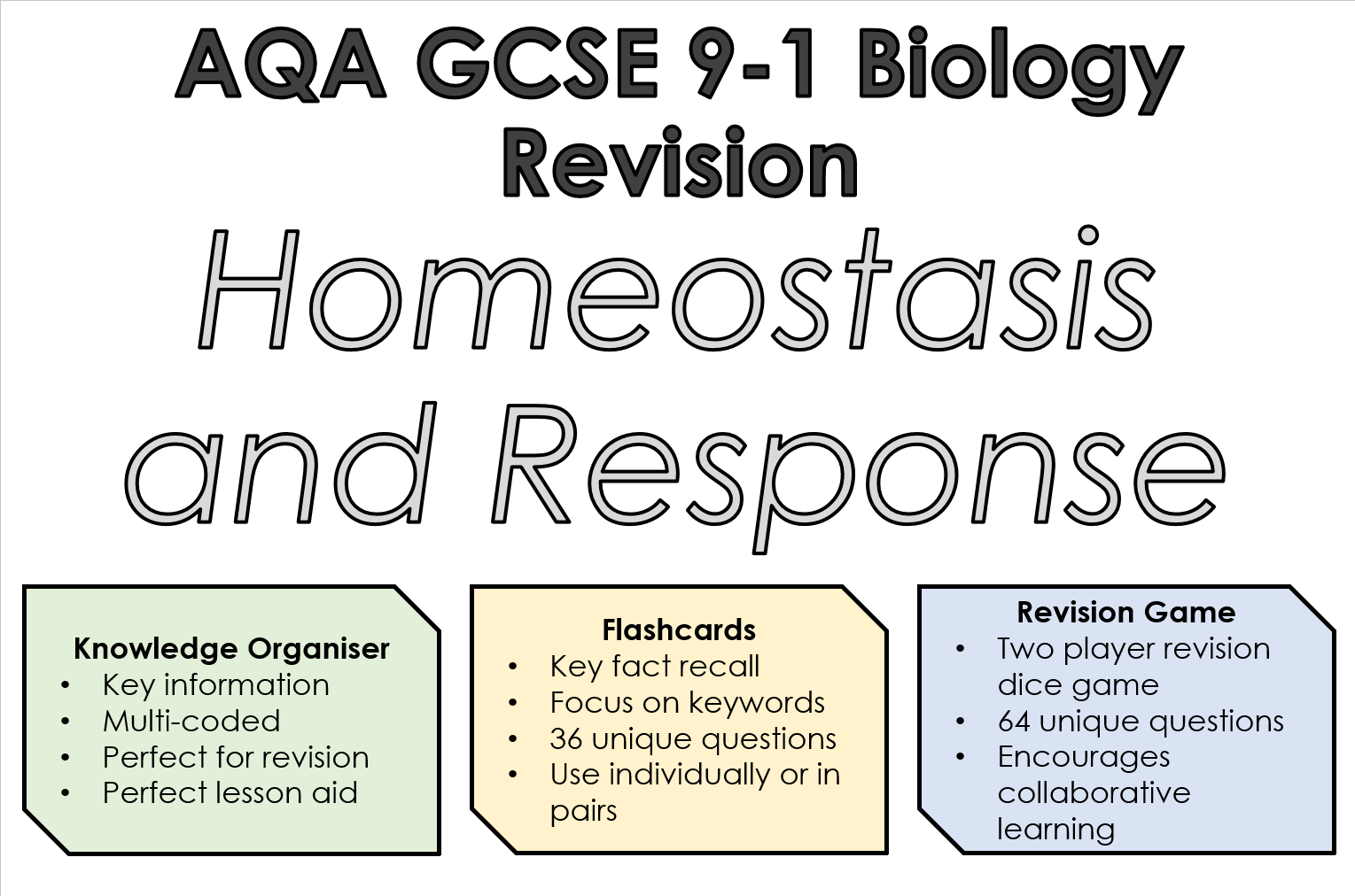 AQA 9-1 GCSE Biology Homeostasis and Response Revision Bundle (Trilogy)