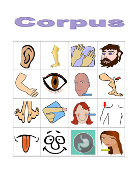 Corpus (Body in Latin) Bingo game