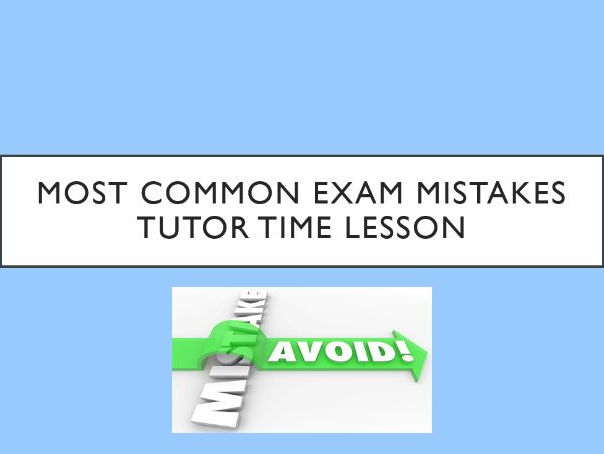 Most Common Exam Mistakes Lesson/Assembly with Worksheet