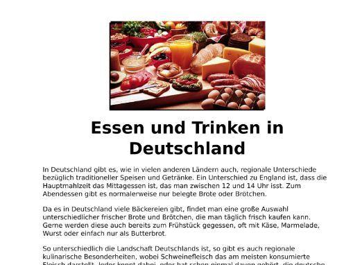 Essen und Trinken in Deutschland - Listening and Transcript