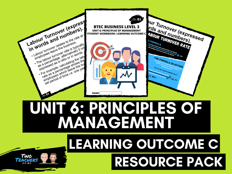BTEC Business Unit 6: Principles of Management Learning Aim C | PowerPoint & Student Workbook