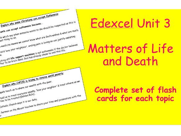Edexcel Christianity Matters of Life and Death Flash Cards