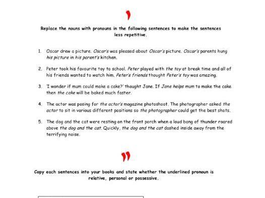 Free Pronouns Worksheet and Answers
