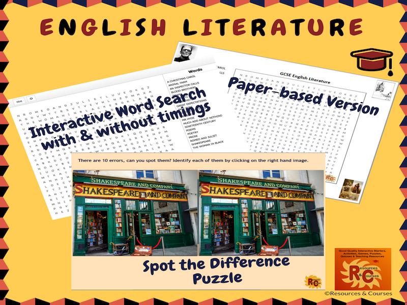 English Literature Interactive Puzzles