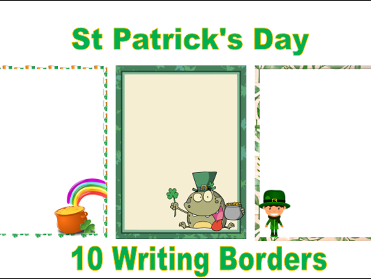 10 St Patrick's Day Writing Borders