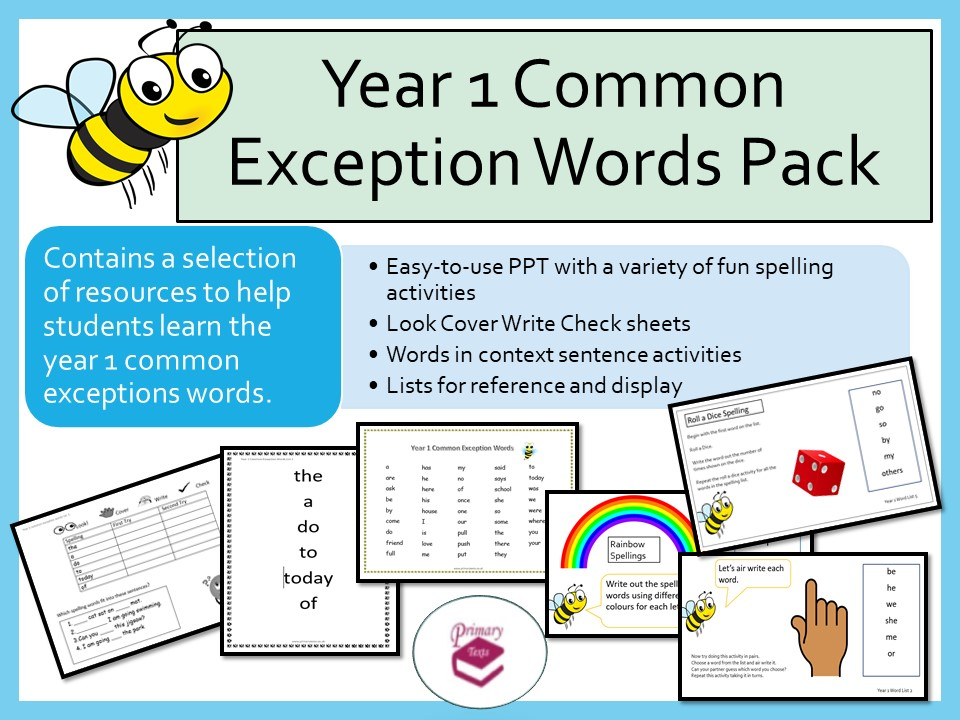 Year 1 Common Exception Words Pack