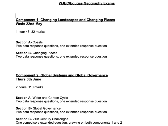 A Level Geography- WJEC/EDUQAS
