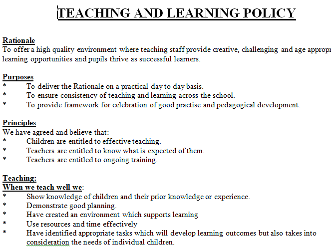 Whole school Teaching & Learning Policy