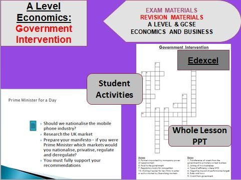Government Intervention Whole Topic including Lesson PPT and Activities: A Level Economics