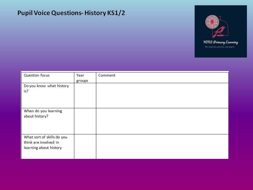 History pupil voice template