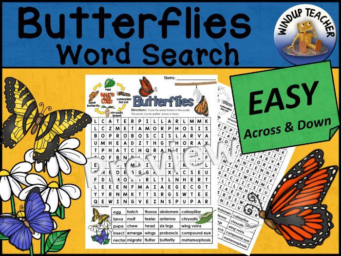 Butterflies Word Search | Easy