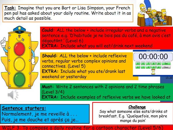 Daily Routine Year 8 Lesson Whole Lesson and Resources