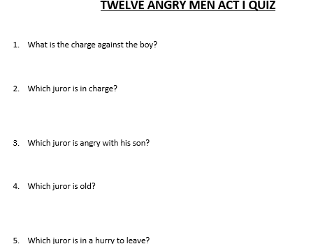 Twelve Angry Men Short Answer & Matching Play/Movie Test