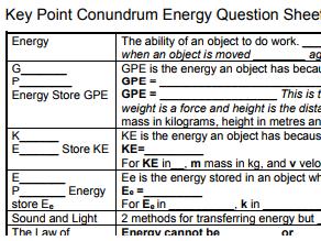 AQA GCSE Physics Energy Key Points Conundrum and 3 tests. GCSE Physics