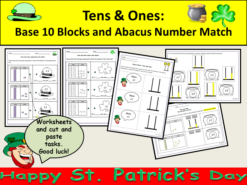 St Patrick's Day:Place Value Tens/Ones, Partition, Abacus/Numbers, Matching Cut/Paste Activities
