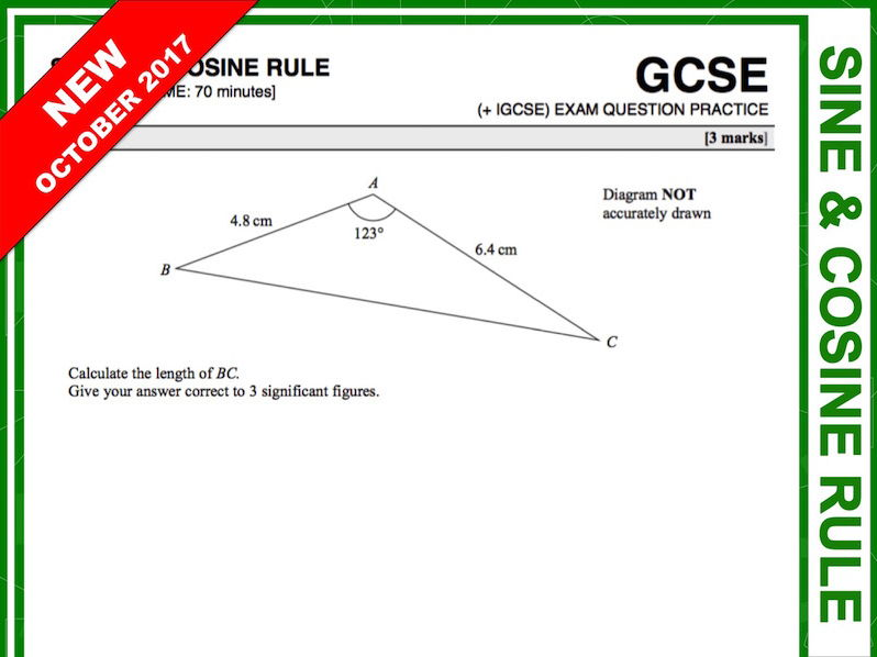 GCSE 9-1 Exam Question Practice (Sine + Cosine Rule)
