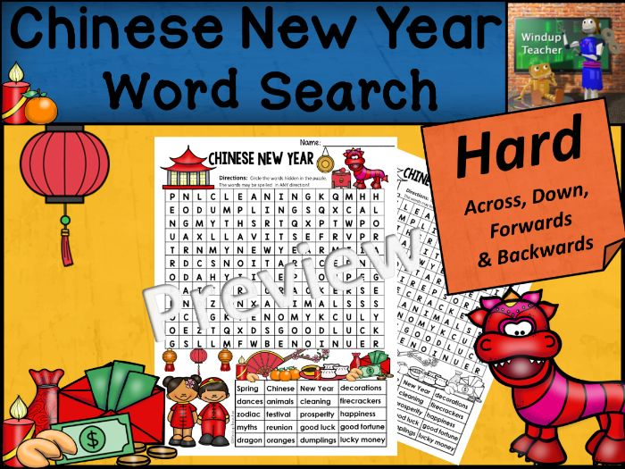 Chinese New Year Word Search | HARD Puzzle | Ready to Go!