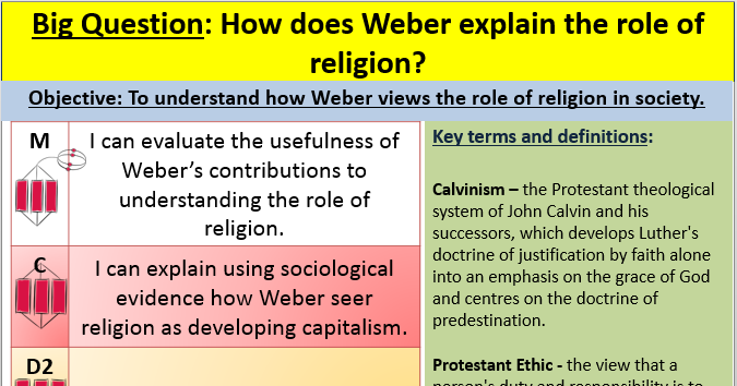 Weber and religion lesson
