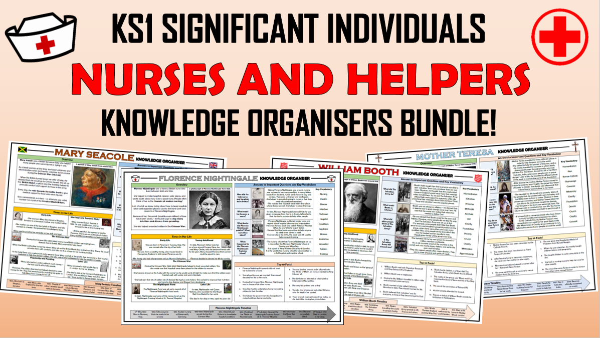 KS1 Significant Individuals - Nurses and Helpers - Knowledge Organisers Bundle!
