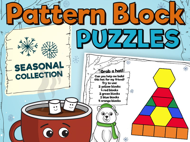 Pattern Block Puzzles • Math Shape Puzzles • January Winter Theme