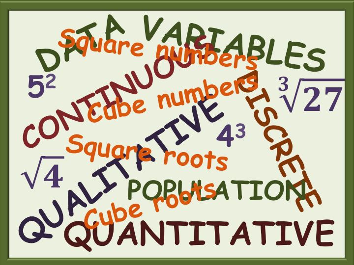 Squares and Cubes, Statistics Definitions Information sheets - Functional Skills L2 GCSE