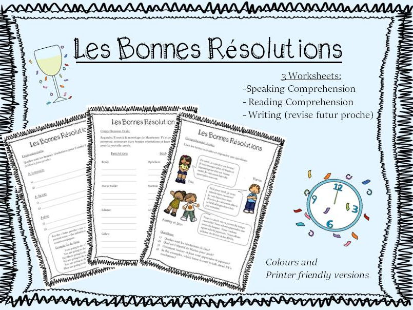 Les Bonnes Résolutions (NY's resolutions) - French worksheets - Futur Proche