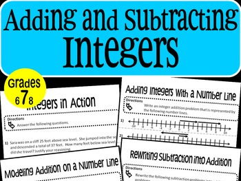 Adding and Subtracting Integers Math Stations