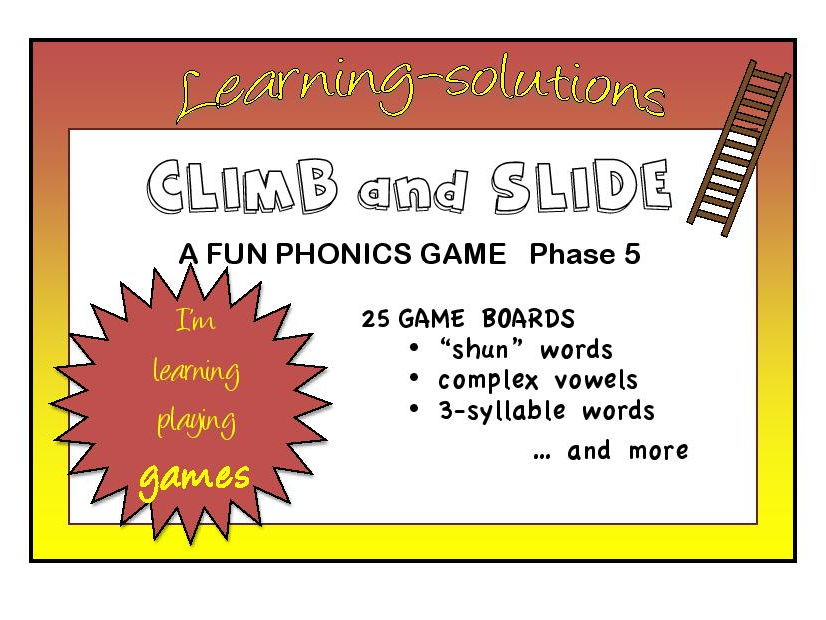 CLIMB AND SLIDE BOARD GAMES - Phonics - Phase 5 - 23 games