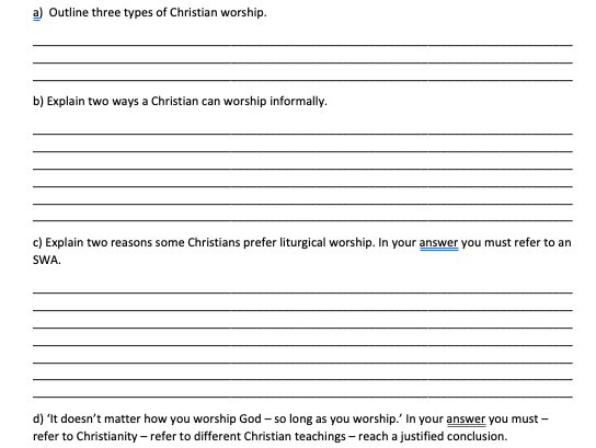 GCSE RS Exam practice Edexcel Living the Christian life