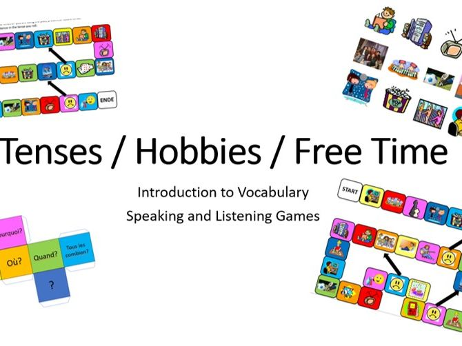 FRENCH  - Hobbies, free time and tenses - Presentation and games - Speaking and listening KS2/3/4